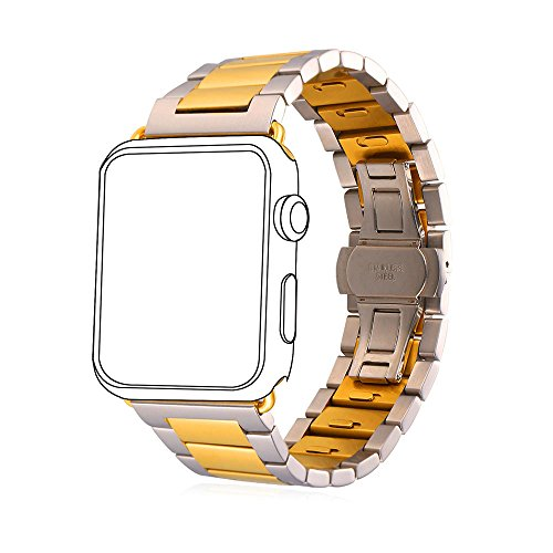 Bandmax Classic Watch Strap with Bumper Case Stainless Steel Metal Clasp Two Tone Gold Plated Wristband for iWatch Series 2/1 All Versions (42MM Gold&Silver)