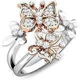 MOONRING - Anello da Donna con Farfalla in zircone Artificiale, Anello di Fidanzamento o Matrimonio, Lega, Rose Gold, 5