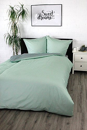 Bettwäsche Satinbettwäsche Digitaldruck 100% Baumwolle Wendebettwäsche Unibettwäsche verschiedene Größen und Farben (Mint, 155 x 220 cm)