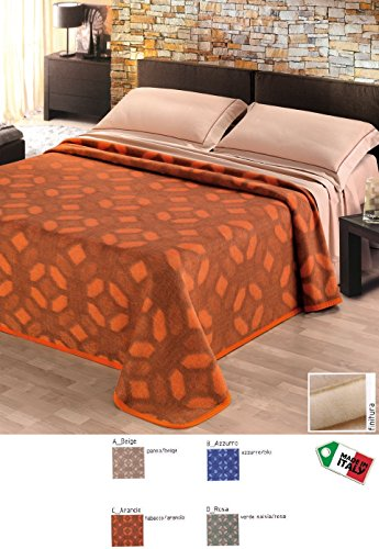 Tbe Blanket Wool Check Mosaic the Bed, 1 Place and a Half, Made in Italy azure