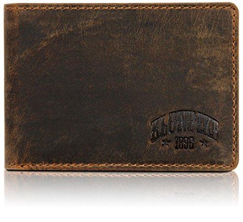 Klondike 1896 Gabe, Echtleder Geldbörse im Querformat, edles Portemonnaie aus Leder für Damen und Herren, Dunkelbraun