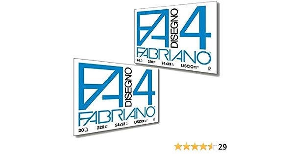Liscio Riquadrato 05201597 B 220 g Album da Disegno Fabriano 4-24x33 cm