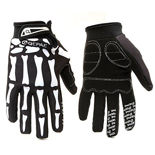 Hakkin Femmes Hommes gants antidérapants Motif de crâne Pour en plein air de vélo de montagne en hiver Gants doigts complets Pour la route vélo de course dérapage gants de ski D'equitation Vélo Moto Motocross gants (Size : S)