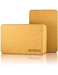 High Pulse Yoga Block aus Kork (2er Set) 22 x 15 x 4 cm – Das vielseitig einsetzbare Yoga-Zubehör erleichtert die Ausführung zahlreicher Übungen