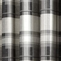 "Fusion - Balmoral Check - Ready Made Lined Eyelet Curtains - 90"" Width x 72"" Drop (229 x 183cm), Slate by Jrosenthal & Son Limited"
