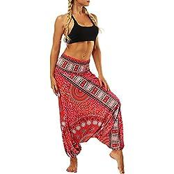 Femmes Taille Yoga Fitness Leggings en Cours d'exécution Gym Extensible Sport Pantalons Pantalon Slim Jeans Combinaisons Short Collants Knickerbockers (Taille Libre,Rouge)