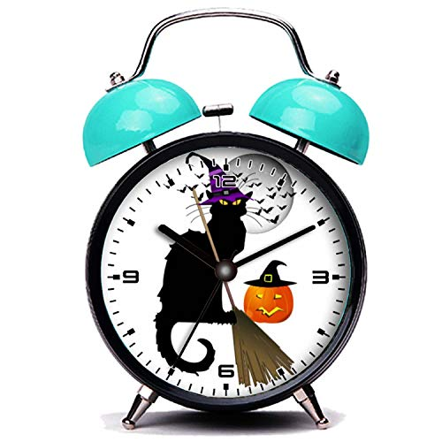 ker, Nette Katze Le Chat Noir - Halloween Hexe Katze Twin Bell Wecker mit Nachtlicht ()
