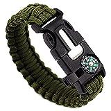 Generic Confezione di due bracciali di sopravvivenza in paracord, con fischietto, pietra focaia, raschietto per esterni nero e verde militare)