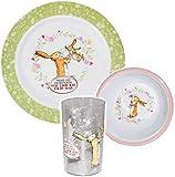 Unbekannt 3 TLG. Geschirrset -  Hase - Weißt Du eigentlich wie lieb ich Dich hab  - aus Melamin / Kunststoff - Becher + Teller + Müslischale / Suppenschüssel - Kinder..