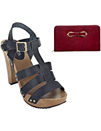 Estatos Pattern Leather Open Toe Buckle Closure Block Wooden Heel Black Gladiator Sandals With Maroon Clutch For...
