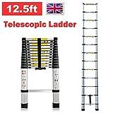 Teleskopleiter aus Aluminium ausziehbar faltbar 12,5ft 3,8m 150kg Kapazität platzsparend Tragbare Mehrzweck-13Stufen Climb für Loft Home Office DIY Builder