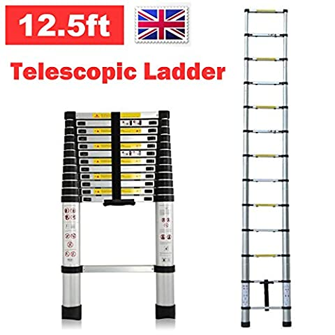 Telescopic Aluminium Ladder Extendable Foldable 12.5Ft 3.8M 330Lb Capacity Save Space Portable Multi Purpose 13 Steps Climb for Loft Home Office DIY Builder