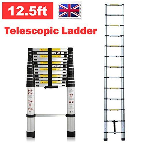 Preisvergleich Produktbild Teleskopleiter aus Aluminium ausziehbar faltbar 12,5ft 3,8m 150kg Kapazität platzsparend Tragbare Mehrzweck-13Stufen Climb für Loft Home Office DIY Builder