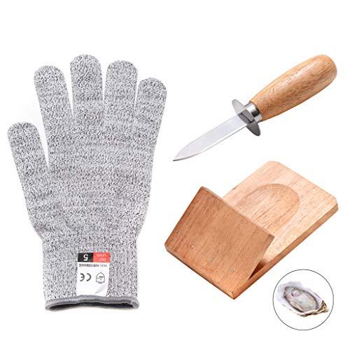Austernmesser Shucker Set, Holzgriff, Austernmesser, Schnittfeste Handschuhe und Austernklemme, Set Werkzeuge für Austernmuschel Muschel Meeresfrüchte