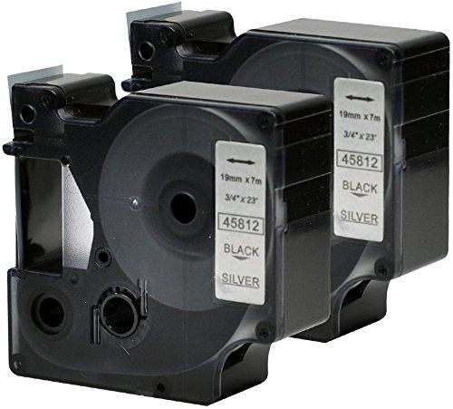 2 Kassetten D1 45812 schwarz auf silber 19mm x 7m Schriftband kompatibel für DYMO LabelManager LM 100 150 160 200 210D 260 280 300 350 350D 360D 400 420P 450 500TS PC2 PnP LabelWriter LW 400 450 Duo (Dymo Rhino-etikettendrucker)