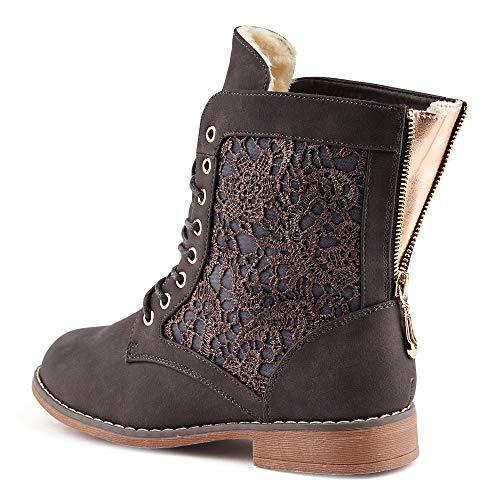 Fusskleidung Damen Boots Gefüttert Spitze Stiefeletten Schnür Stiefel