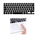 i-Buy Silicone Keyboard Cover Film for Macbook Air 13 Pro 13 Pro 15+ Touchpad Protector[EU Layout]- Black immagine