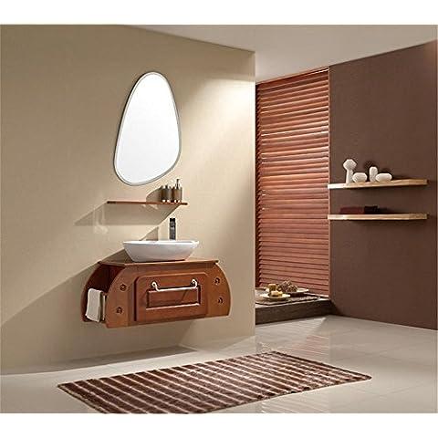 Modylee Solido bagno in legno gabinetto combinazione di tavolo ovale lavandino in ceramica lavabo bagno portasciugamani specchio