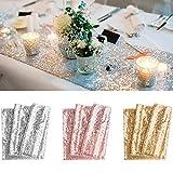 BeeViuc 30 x 275 CM Paillettes Sequins Chemin de Table Paillette fête de Mariage fête d'anniversaire Banquet, Or Rose