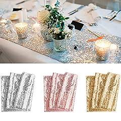Idea Regalo - BeeViuc 30 x 275 CM Glitter e Paillettes Runner Scintillante Festa Nuziale, Oro Rosa