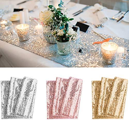 BeeViuc 30 x 275 cm Glitter Pailletten Tischläufer Gold Sparkly Hochzeit Party Décor, Rosé Gold