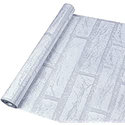 Vintage 45cmx10M Papier Peint Auto-Adhésif Trompe l'oeil Stickers Autocollant Muraux Décoration Murale pour Chambre Salon Meuble, Brique Blanche