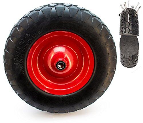 PU Schubkarren Rad 4.80/4 4.00-8 Vollgummi Ersatzrad für Schubkarren mit Achse - pannensicherer Reifen (ohne Achse) (Schubkarre-rad-lager)