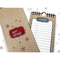 Immerwährender Geburtstagskalender handmade Retro-Design Kraftpapieroptik Wandkalender 10,5 x 29,7 cm zum Aufhängen