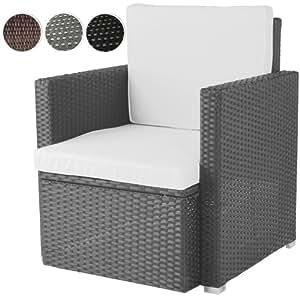 miadomodo bequemer loungesessel aus polyrattan gartenm bel inkl sitzkissen farbwahl. Black Bedroom Furniture Sets. Home Design Ideas