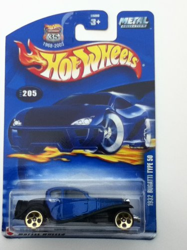 Hot Wheels 2002 #205 1932 Bugatti Type 50 5 Hole Gold Wheels on Metal Collection Card by Hot Wheels