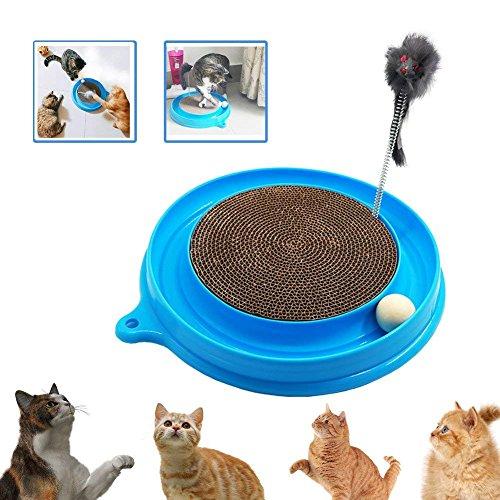 XZANTE Katze Turbo Scratcher Spielzeug, Katze Turbo Spielzeug, Post Pad Interaktives Training übung Maus Spielzeug Mit Turbo Und Ball Blau (Katze Spielzeug Turbo Scratcher)