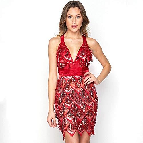 Rocke Frauen, Latin Dance kostüm quaste Pailletten ärmellos rückenfrei hohe Taille blau rot sexy Halfter Kleid für (Farbe : Red, Size : - Blumige Kleid Kostüm