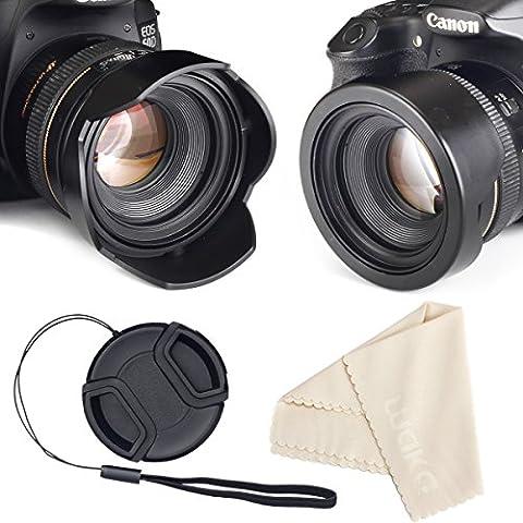 Reversible tulipán flor Parasol para Canon Nikon Sony DSLR + Center Pinch tapa de objetivo con gorra Keeper Correa + lente paño de limpieza de microfibra Premium