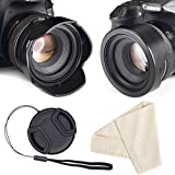 Reversible Tulip Flower Lens Hood for Canon Nikon Sony DSLR + Center Pinch Lens Cap with Cap Keeper Leash + Premium Microfiber Lens Cleaning Cloth Set 67mm