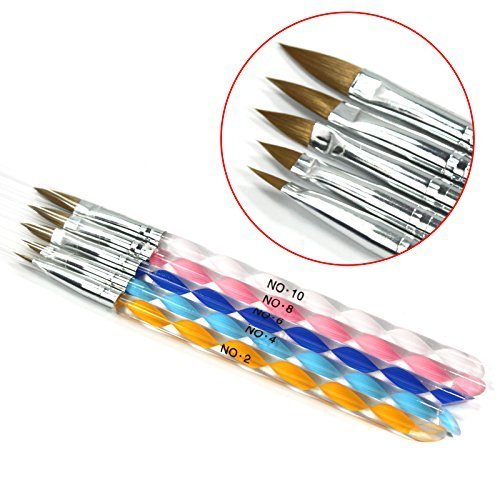 5 X 2-ways Colored Acrylic Nail Art Brush Cuticle Pusher Drawing Painting Pens Tool Set No. 2/4/6/8/10 (Brush A#) by ry (Ry-tool)
