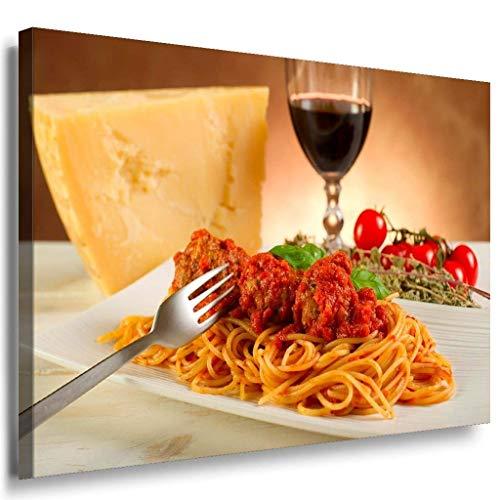 Spaghetti Bolognese Wein Leinwandbild / LaraArt Bilder / Mehrfarbig + Kunstdruck XXL k89 Wandbild 120 x 80 cm