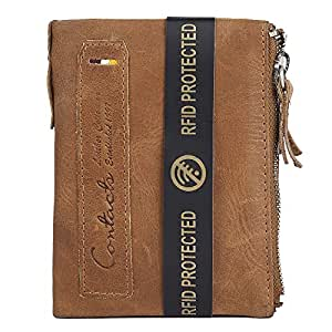 CONTACTS Mens Genuine Leather RFID Blocking Wallet (Beige)