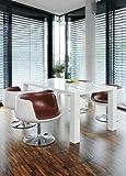 Esstisch-Gruppe weiß Hochglanz 120x80 cm recht-eckig mit 4 Studio 54 Design Stühlen | Luca | Essgruppe weiss 4 Stühle in braun | Design Tischgruppe mit Ess-Tisch weiß lackiert 120cm x 80cm 5 tlg.