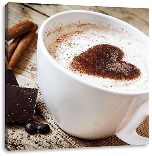 Leckerer Tasse Kaffee mit Schokolade, Format: 40x40 auf Leinwand, XXL riesige Bilder fertig gerahmt mit Keilrahmen, Kunstdruck auf Wandbild mit Rahmen, günstiger als Gemälde oder Ölbild, kein Poster oder Plakat -