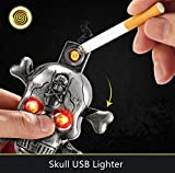 #4: HOMIES Skull Shaped Electric Lighter flameless and Environment Friendly, musical horror with thin metal Keychain (Colour: Golden)