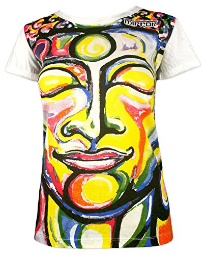 Mirror Damen T-Shirt - Lächelnde Buddha Buddhismus Psychedelic Art Yoga Yogi (Weiß M)