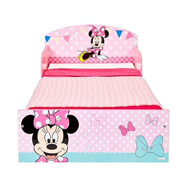 Disney Minnie Mouse Kids Toddler Bed by HelloHome  Sleep sweetly with this Minnie Mouse Toddler Bed Perfect size for toddlers, low to the ground with protective and sturdy side guards to keep your little one safe and snug Fits a standard cot bed mattress size 140cm x 70cm, mattress not included. Part of the Minnie Mouse bedroom furniture range from Hello Home 2