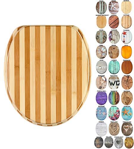 WC Sitz mit Absenkautomatik, viele schöne Holz WC Sitze zur Auswahl, hochwertige und stabile Qualität (Bambus gestreift)