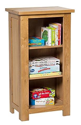 Waverly Oak Small Bookcase in Light Oak Finish | 3 Shelf Storage Low Bookshelf | Solid Wooden Bookshelves