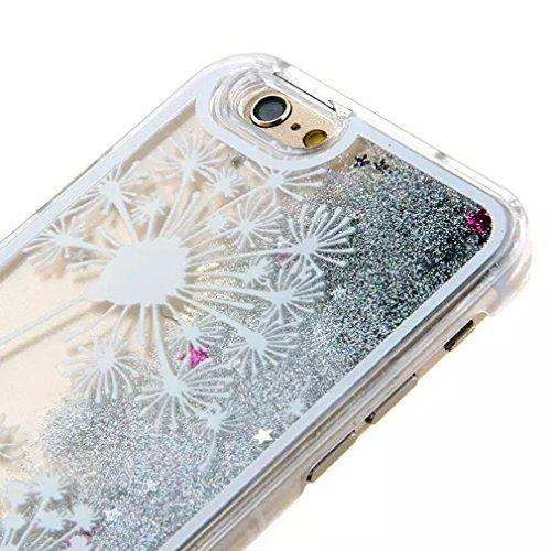 iPhone 6 Hülle, iPhone 6S Schutzhülle, Hamyi Glänzend 3D Dynamisch Flüssigkeit Funkeln Treibsand transparent Hart Kunststoff Schalen für iPhone 6 und iPhone 6S (4,7 Zoll) (Die Hamsa Hand) Weiß Löwenzahn