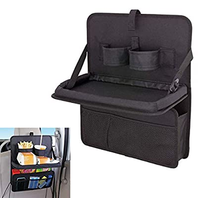 SHiZAK Foldable Car Back Seat Food Tray Folding Dining Table Desk Multi-Pocket Travel Storage Organizer Black - inexpensive UK light shop.