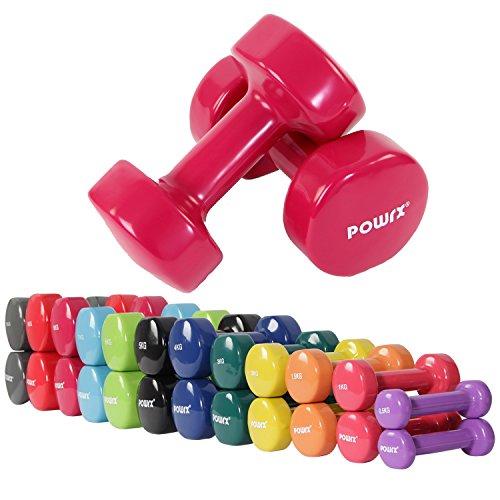 Manubri pesi in vinile 2 x 6 kg, 2 x 7 kg, 2 x 8 kg, 2 x 9 kg, 2 x 10 kg (Rosa scuro, 2 x 8 kg)