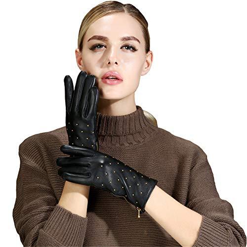 QETYT® Damenleder Handschuhe, Winter Plus Samtig Warme Niete, Punk Schwarzer Warmer Handschuhe