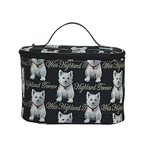 Signare Womens Vanity Bag/ Toiletry Case/ Make-Up Case, Available in 14 Designs (Westie)