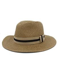 HYF Mujeres Hombres Verano Toquilla Sombrero de Paja de Sol Sombrero de ala  Ancha Homburg Fedora c41d0b16fe9